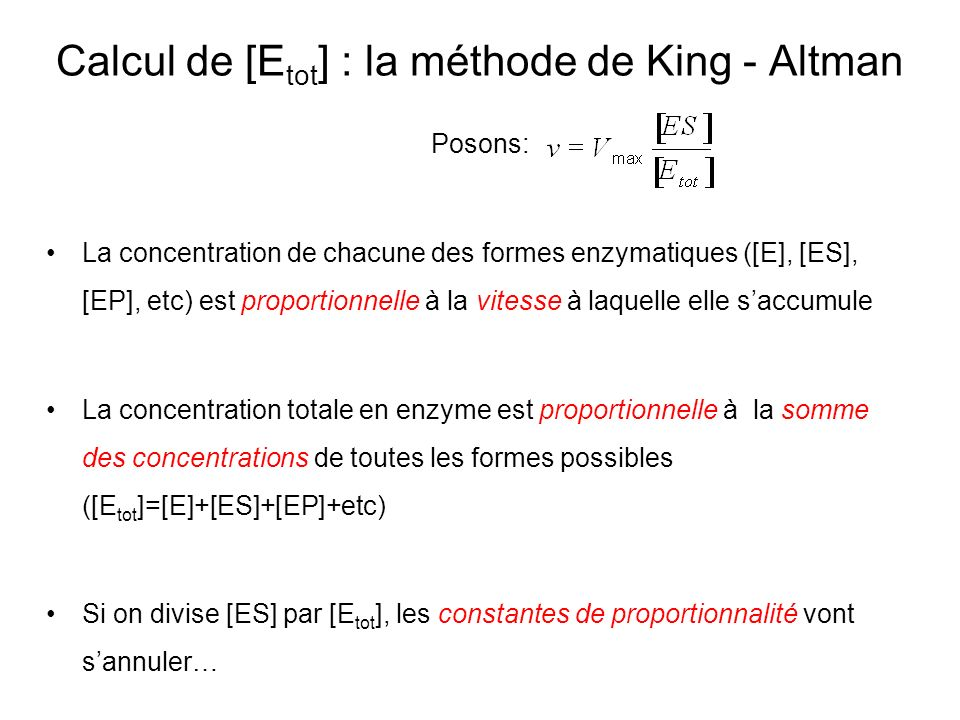 Calcul de [Etot] : la méthode de King - Altman